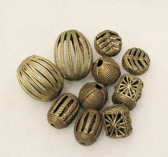 African Brass Beads Mix African Trade Beads Tribal by ColorSquare