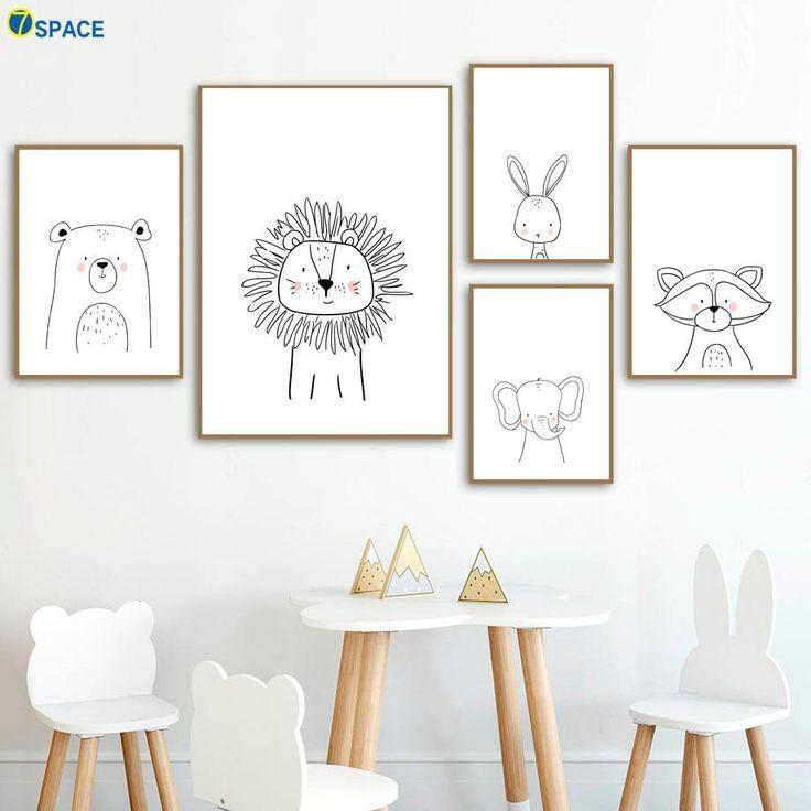 Lion Rabbit Bear Waschbär Wandkunst Leinwand Malerei Nordic Poster und Drucke Kinderzimmer Wa... #bears