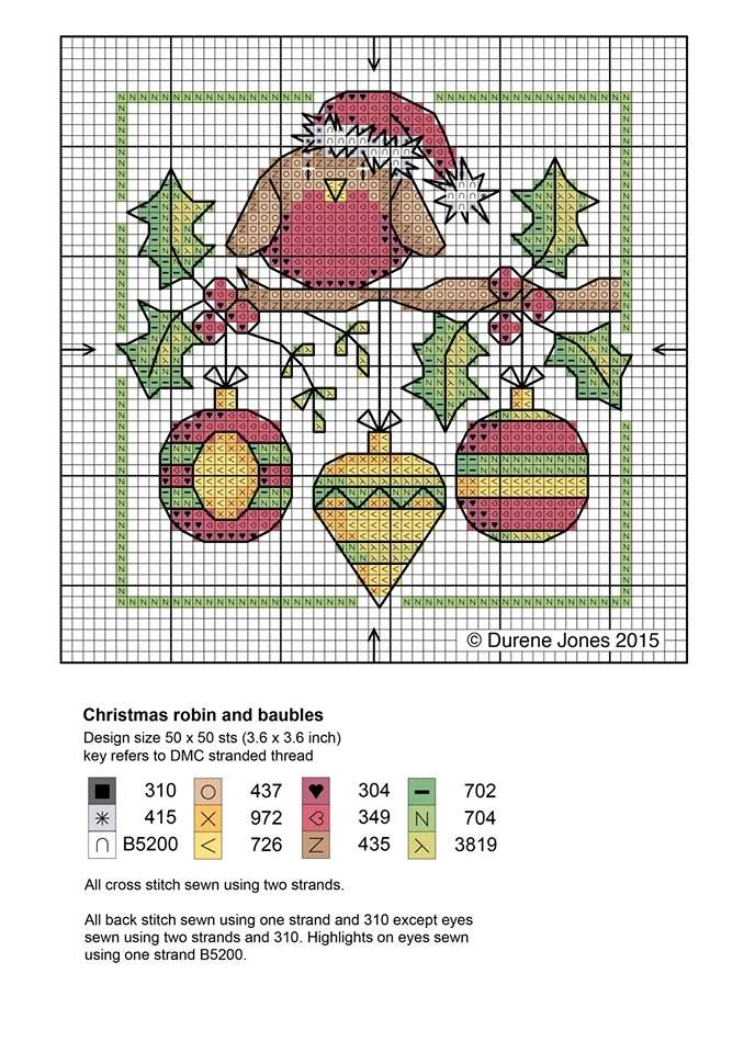 Christmas robin and baubles #CrossStitch #PuntoDeCruz #chart ...