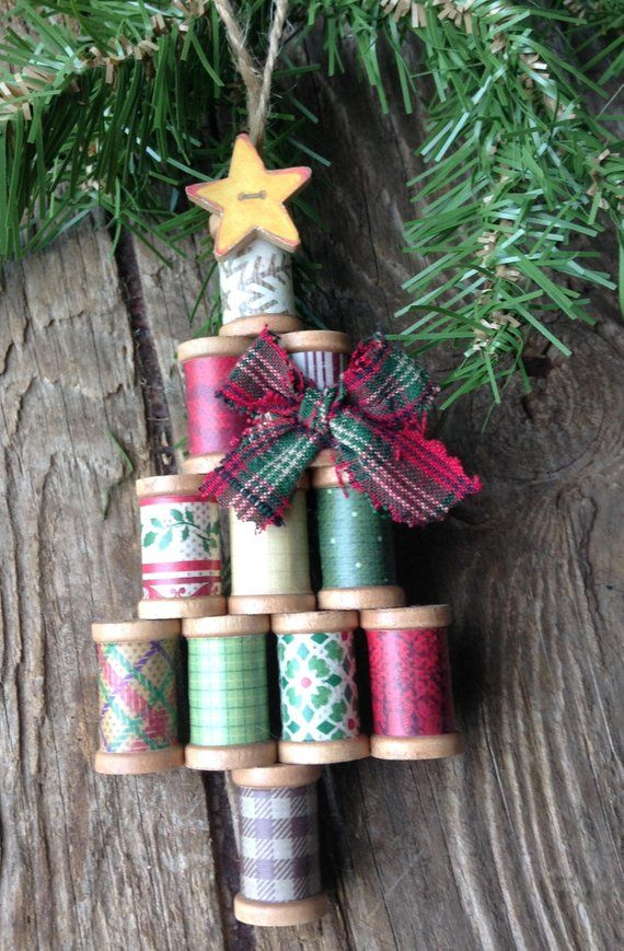 Wooden Christmas Ornament, Wooden Spool Ornament ...
