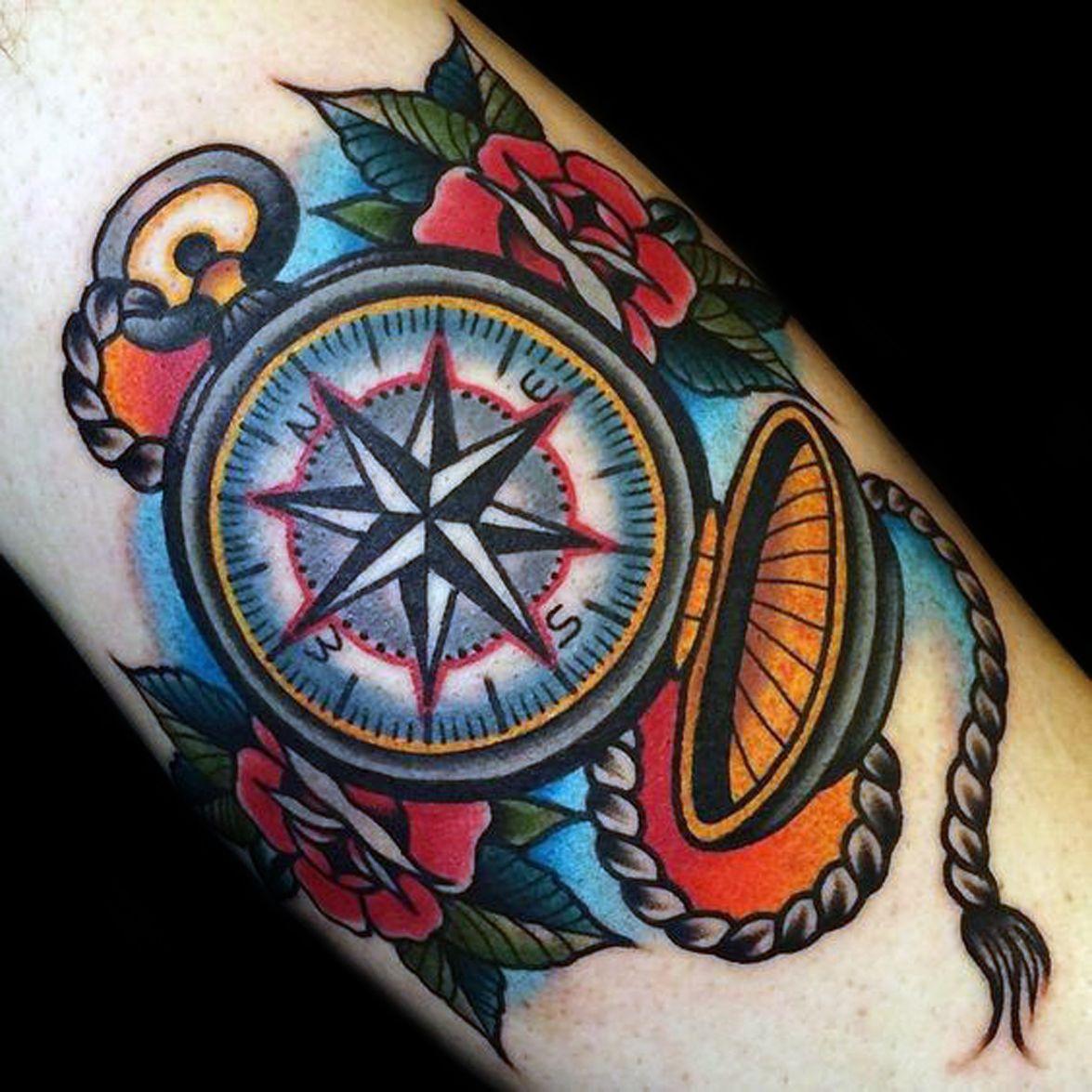 Tattoo Brujula Traditional Compass Tattoo Tattoos For Guys