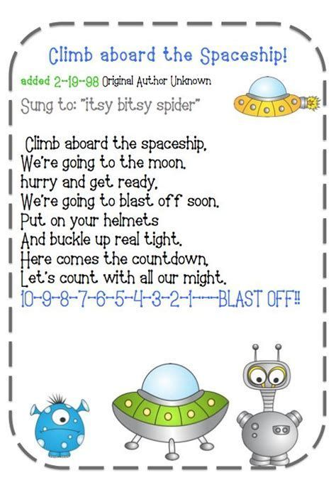 rocket songs for preschoolers 21 best images about space activities on 893