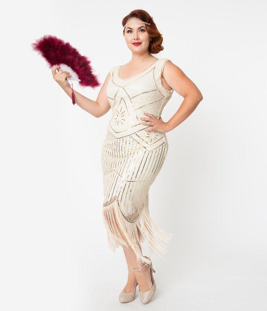 Unique Vintage Plus Size Cream Gold Beaded Leonie Fringe Flapper Dress Plus Size Flapper Dress Fringe Flapper Dress Unique Dresses [ 1023 x 879 Pixel ]