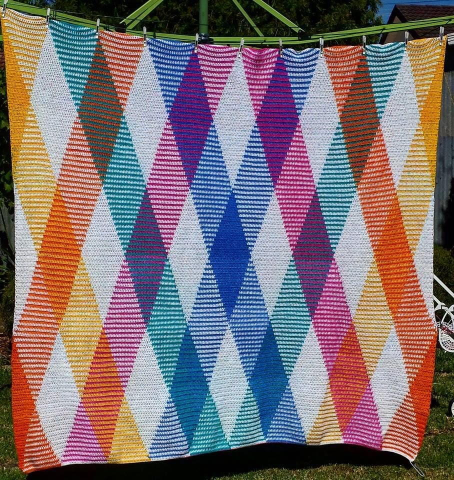 Stunning blanket worked up using planned pooling in crochet