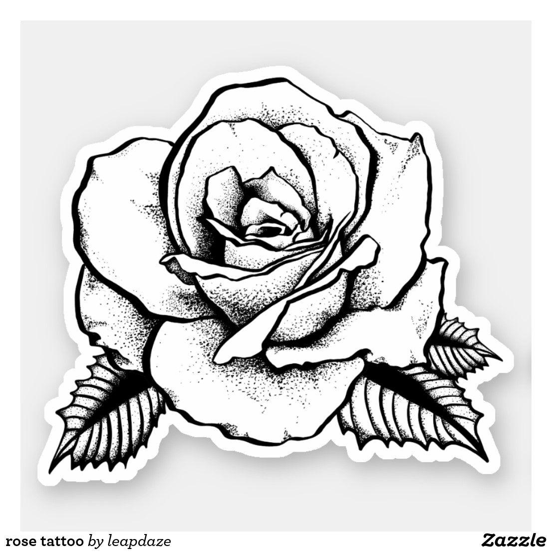 Rose Tattoo Sticker Zazzle Com Rose Tattoo Rose Tattoo Stencil Tattoo Stickers