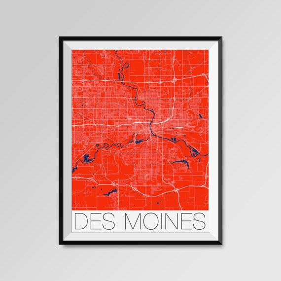 Des Moines City Map Print Modern City Poster Iowa Black And