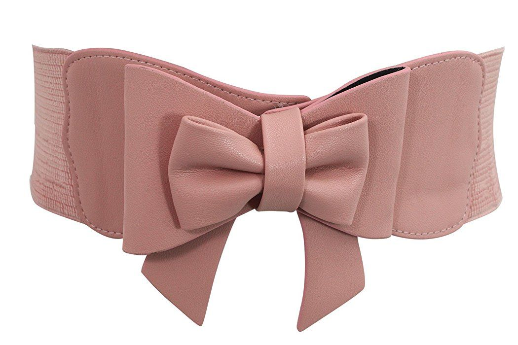 e9aab85e24 Banned Vintage Pin-up Retro Bow Accent Elastic Wide Stretch Waist Belt (M