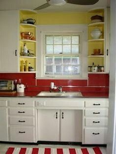 My Grandparents Had The Red Formica Countertop And Set Up Almost The Samei Except For The Style Of Window And Si Retro Kitchen Red Kitchen Red Kitchen Accents