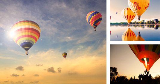 in the air with a huge hot air balloon