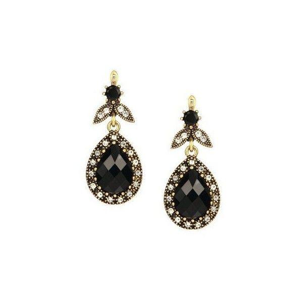 Teardrop Black Gemstone Earrings (£4.27) ❤ liked on Polyvore featuring jewelry, earrings, gemstone jewelry, gem earrings, tear drop jewelry, gemstone jewellery and earrings jewelry