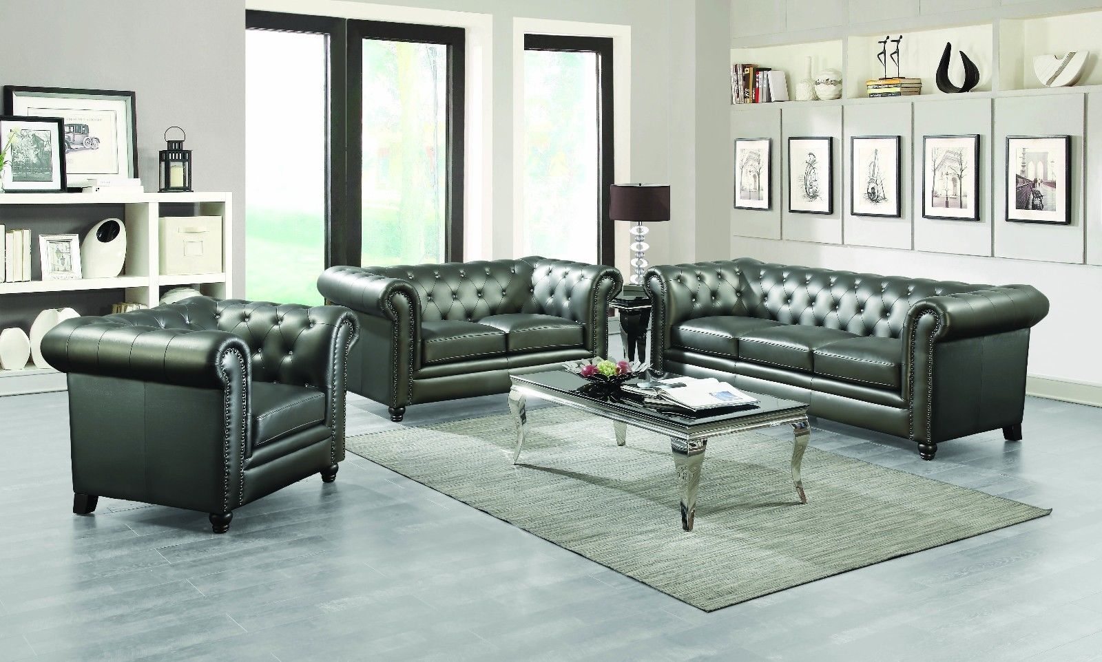 Traditional button tufted gun metal leatherette sofa u love seat