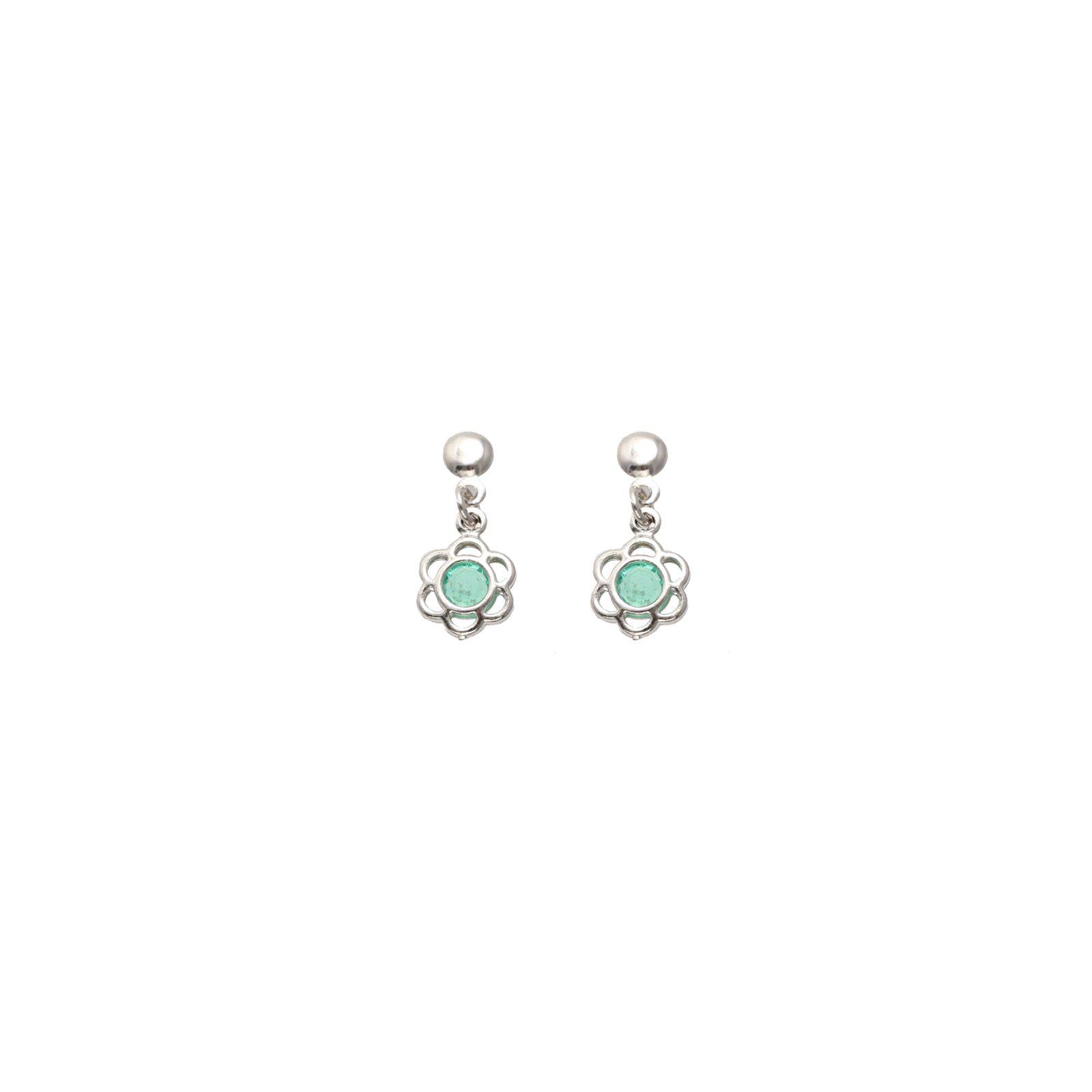 Brinco Mini Flor Verde Folheado a ouro branco (rodihum) 18k mini flor verde. #brinco #brincos #earrings #earring #jewels #jewel #semijoias