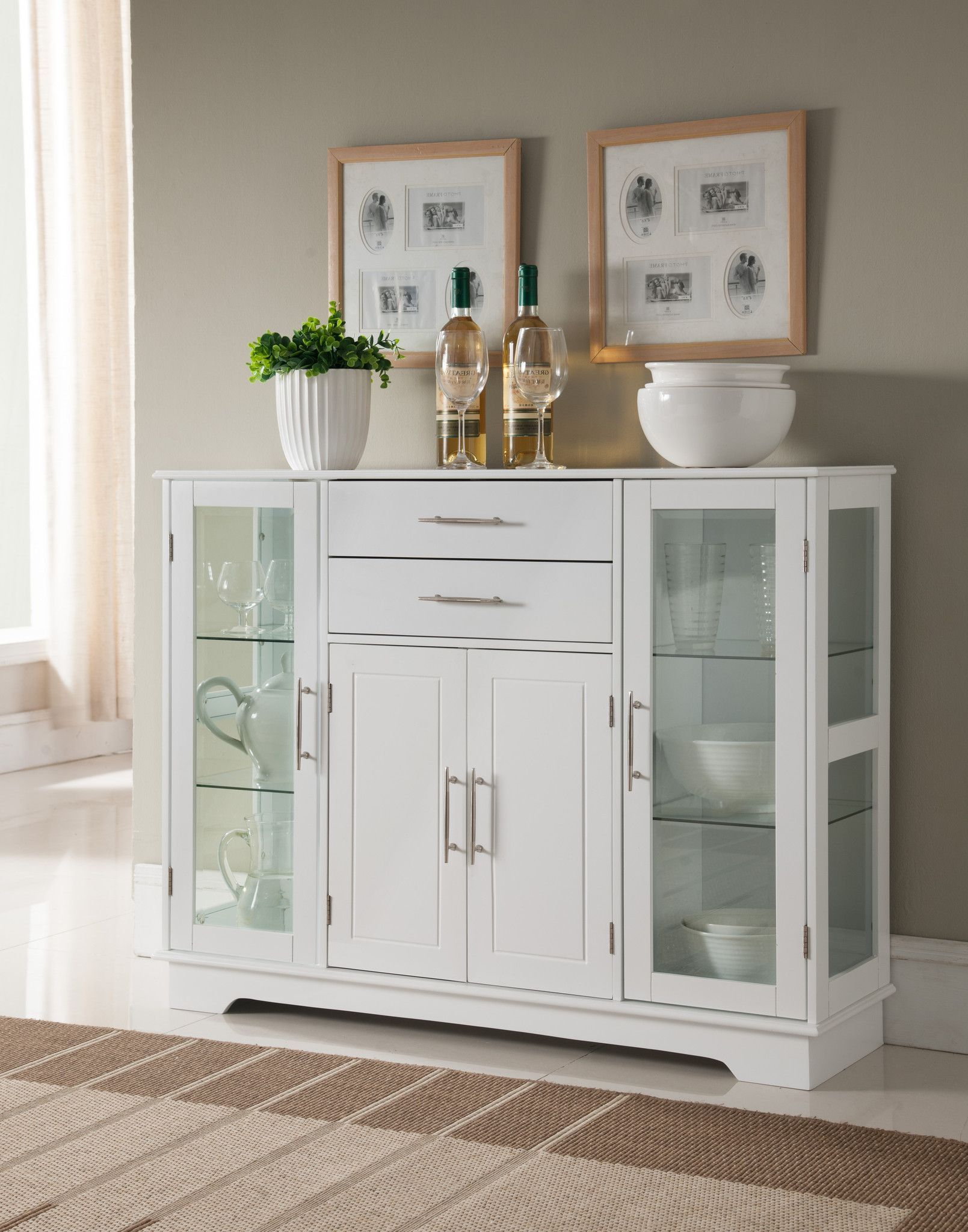 Oak Kitchen Buffet Cabinet Pilaster Designs - White Wood Kitchen Storage Display Cabinet Buffet With  Glass Doors, Drawers u0026 Storage