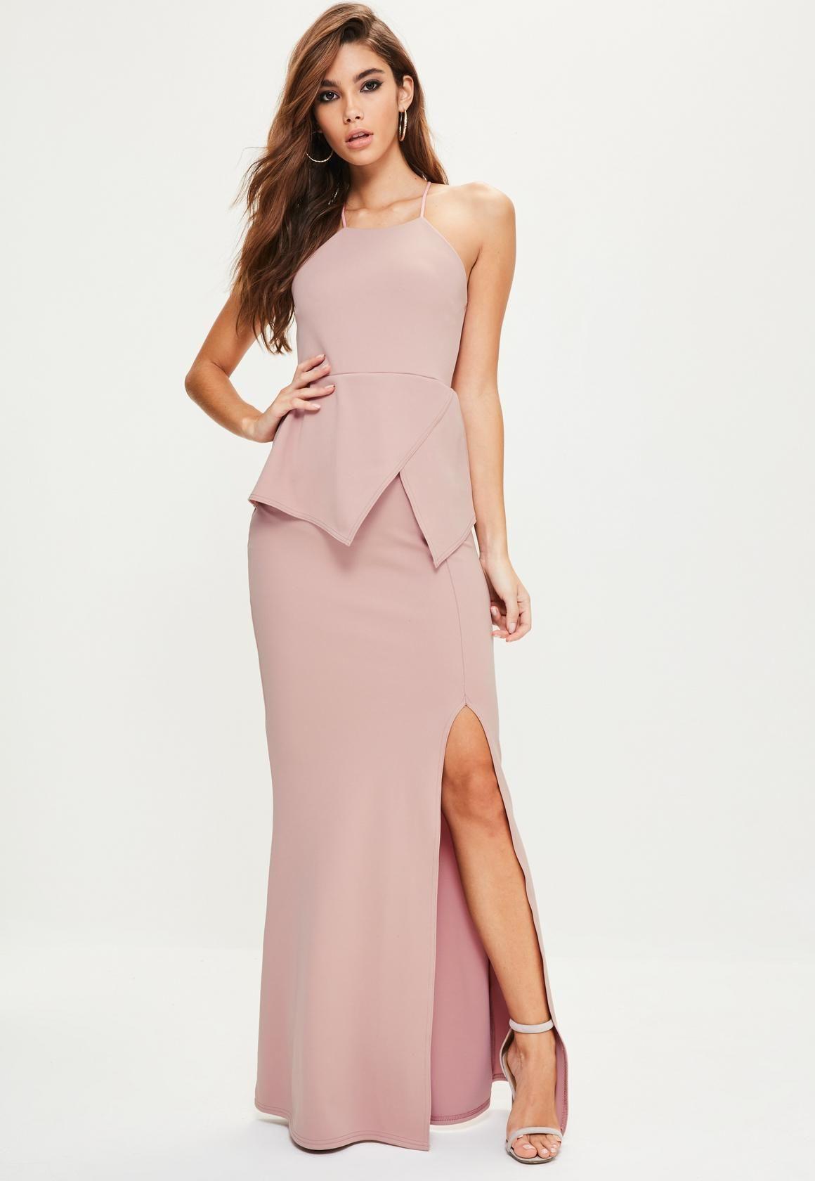 Missguided - Vestido largo con escote cuadrado con detalle origami ...