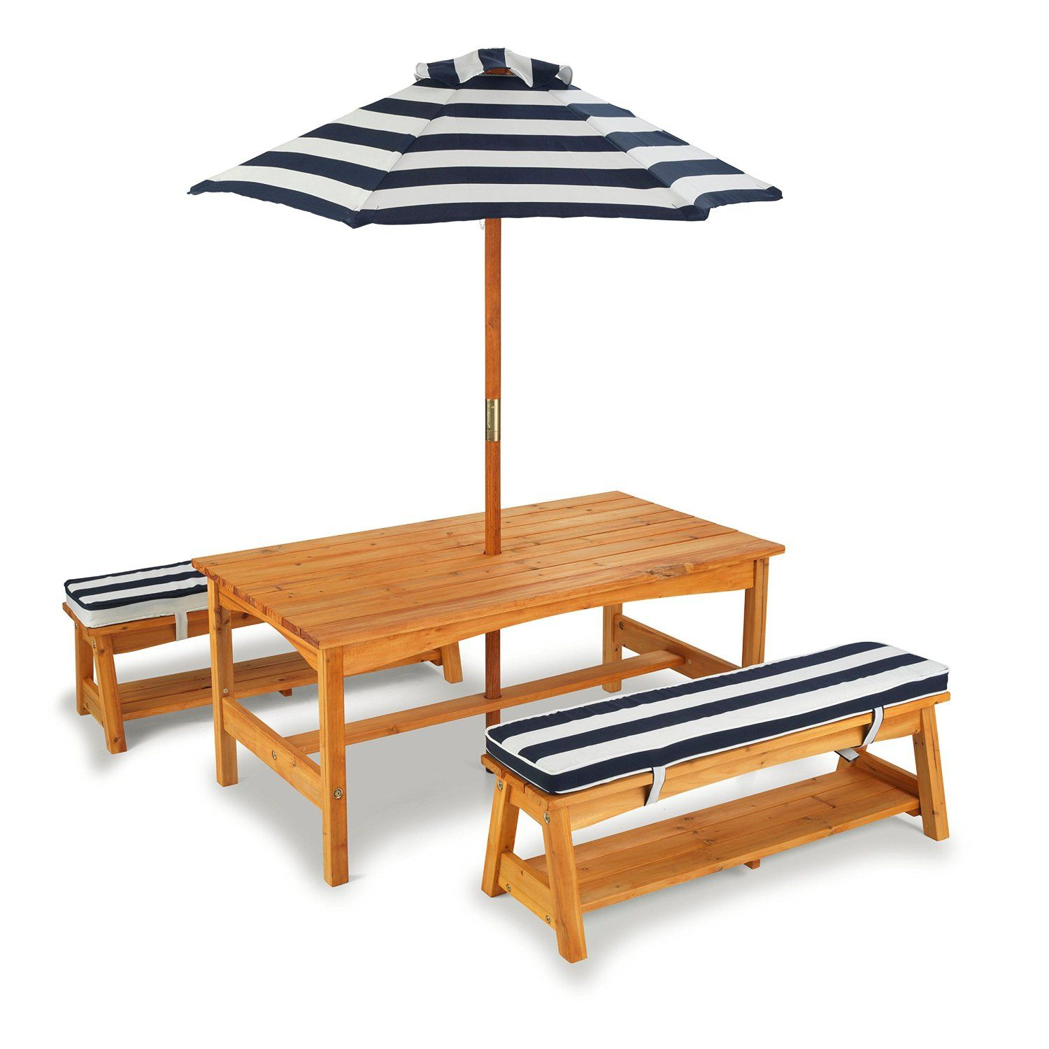 Amazon.com KidKraft Outdoor table and Chair Set with Cushions and Navy Stripes  sc 1 st  Pinterest & Amazon.com: KidKraft Outdoor table and Chair Set with Cushions and ...