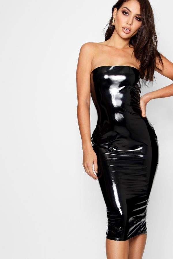 965f098c6ae boohoo Ashley Bandeau Vinyl Midi Dress bodycon knee lenght dress fashion  shopping style affiliate