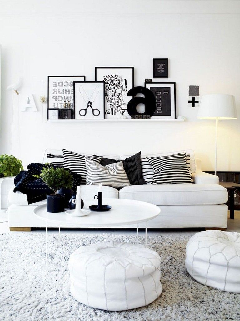 93 Comfy Apartment Living Room In Black And White Style Ideas Black White Living Room Decor White Room Decor Black White Living Room