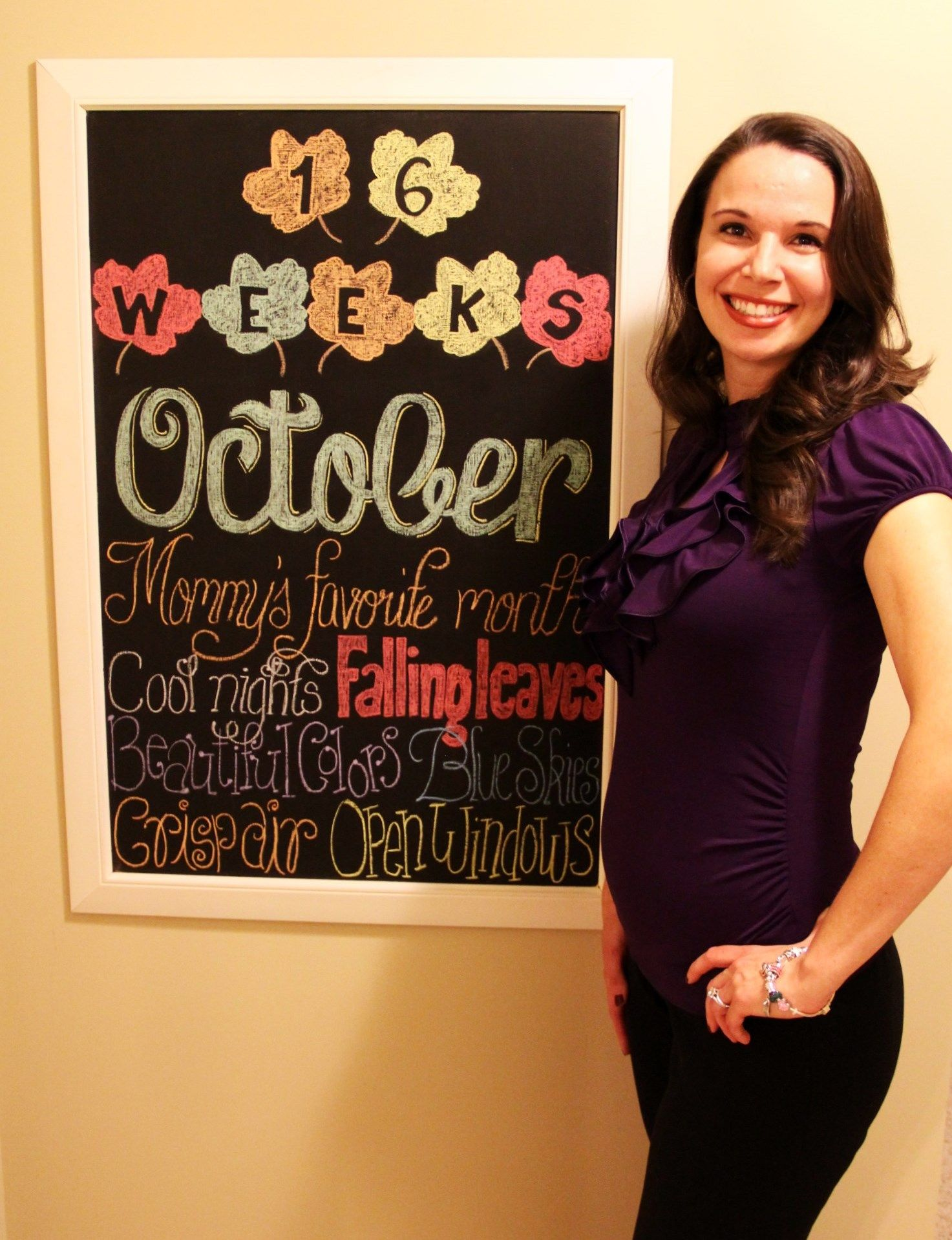 16 weeks pregnant; weekly pregnancy chalkboard / chalk board; October, fall  & favorite things