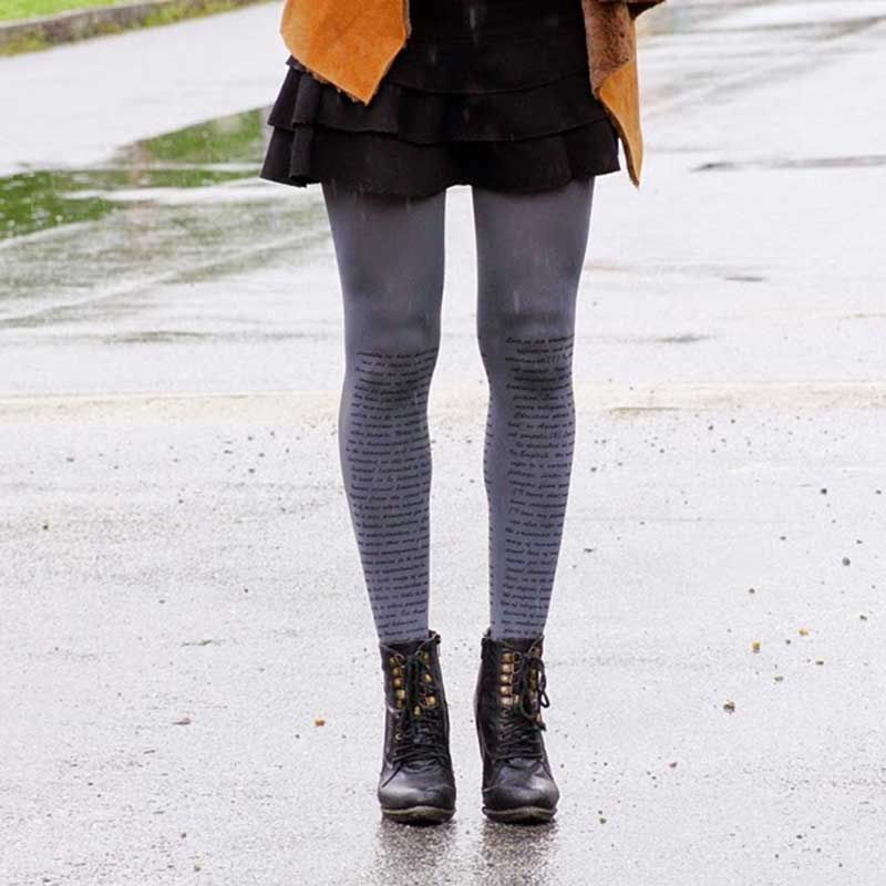 Singing in the rain - Love Text print tights lookbook by #TrendyLegs