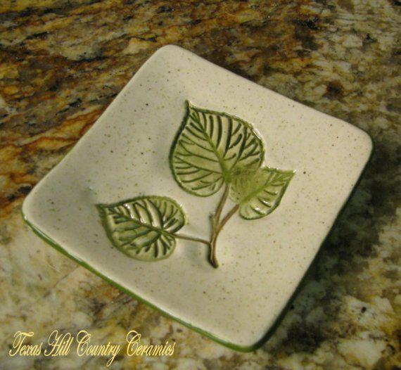 leaf ceramic tea bag holder
