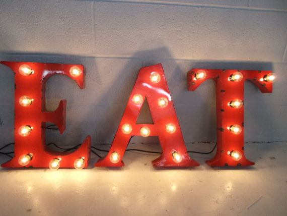 Red Metal Letters With Lights Letter E A T 18 Inch Steel Letters Lightwestvintagetradingco