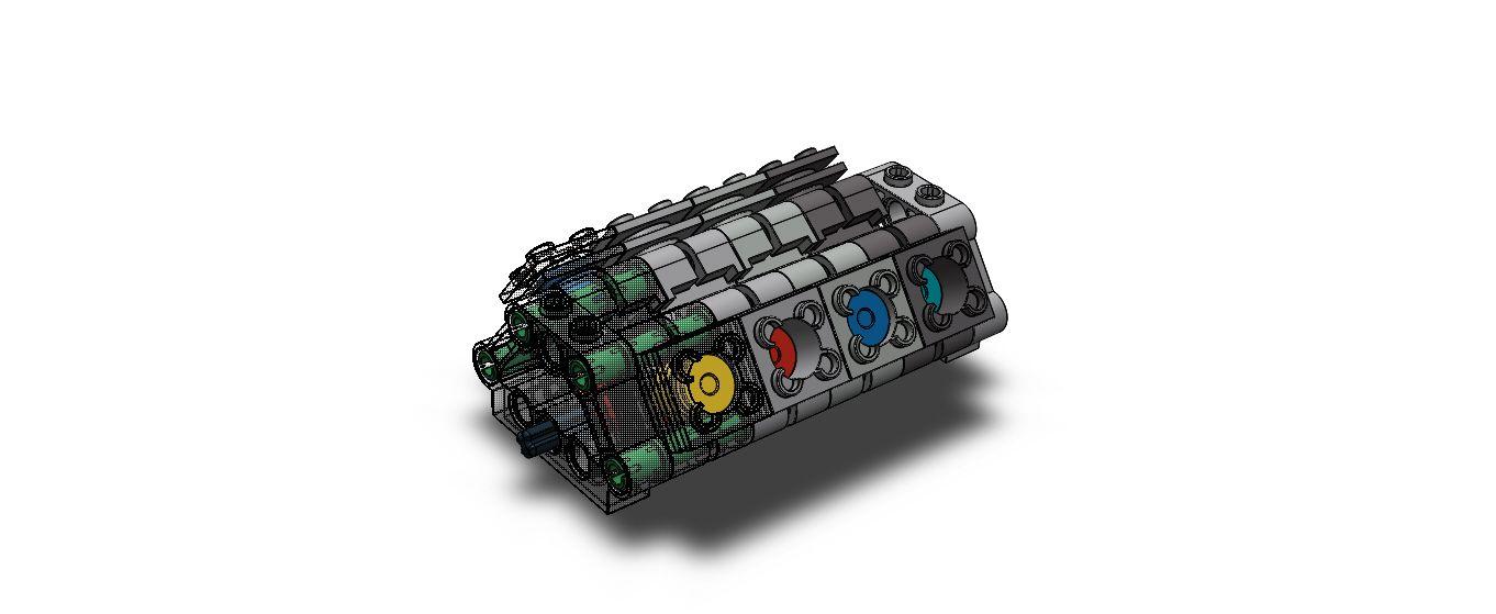 Free LEGO V-8 Motor 3D model download (STEP, IGES, STL