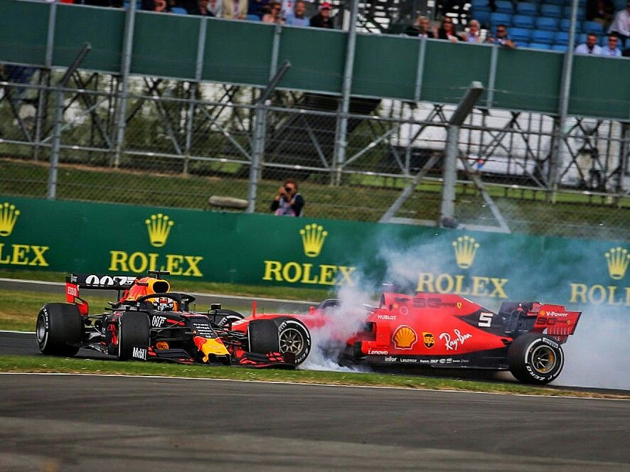 Vettel Vs Verstappen At The 2019 British Gp Scuderiaferrari Driver Sebastianvettel Ploughed Into The Back British Grand Prix Max Verstappen Red Bull Racing