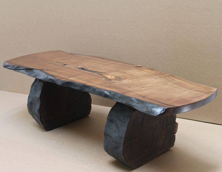 "shou sugi ban walnut coffee table wood ""rescued"" after human"