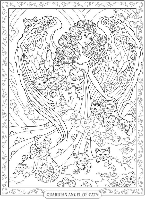 Guardian Angel Coloring Page | Páginas para colorir, Pintura de ... | 774x563