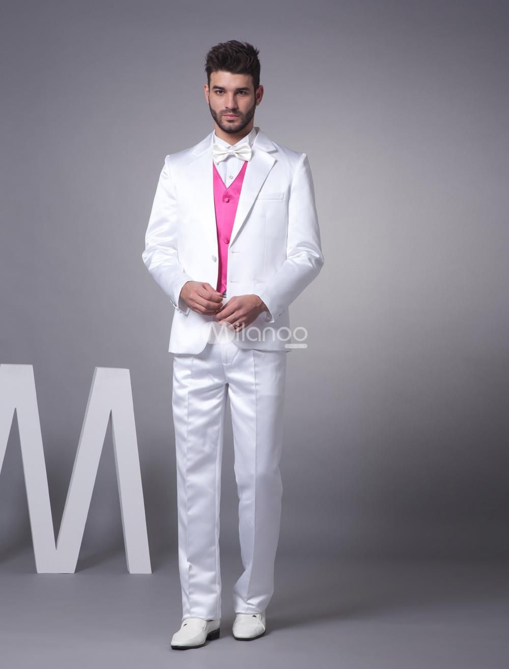 Nice White Single Breasted Button Worsted Groom Wedding Tuxedo ...