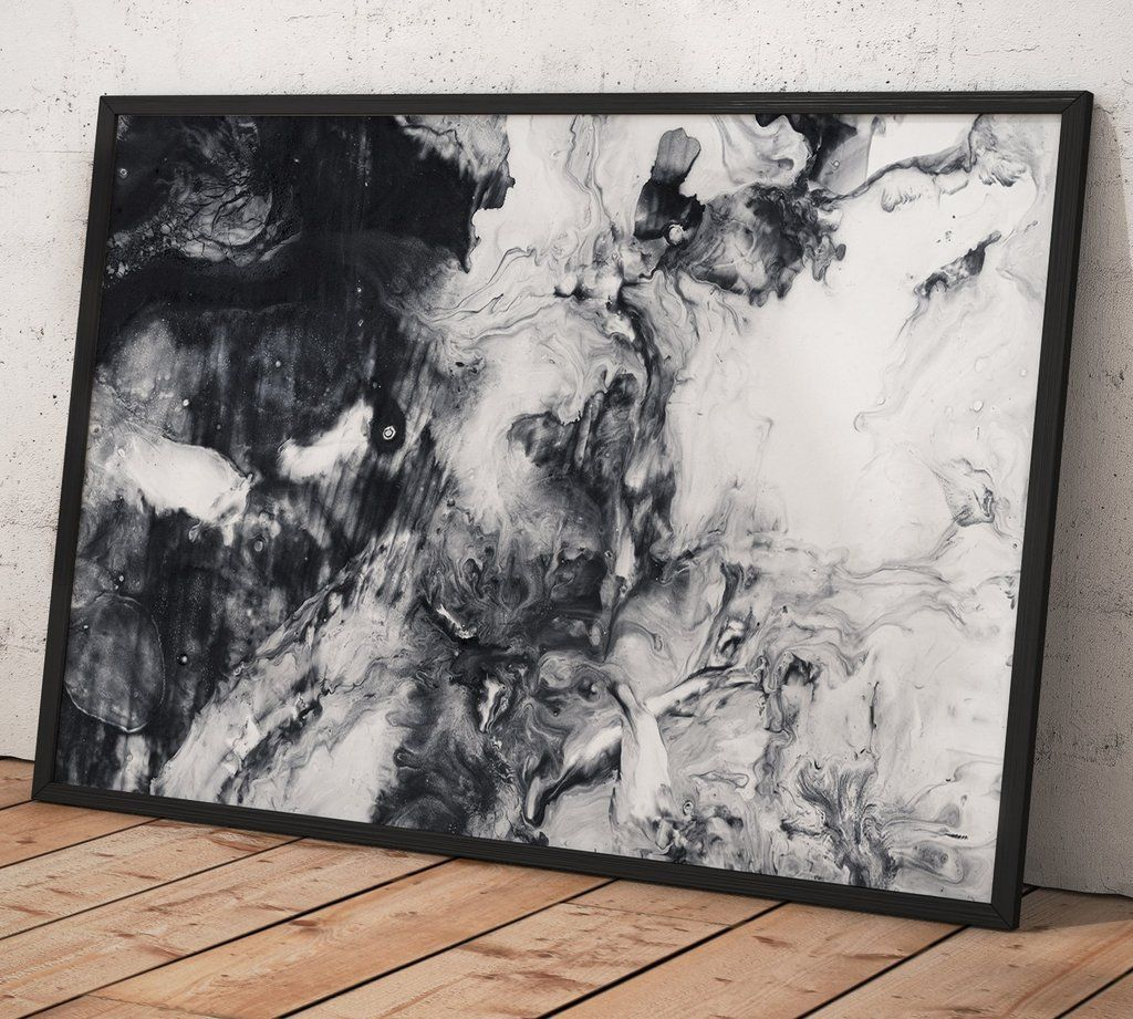Abstract hand painted black and white background acrylic