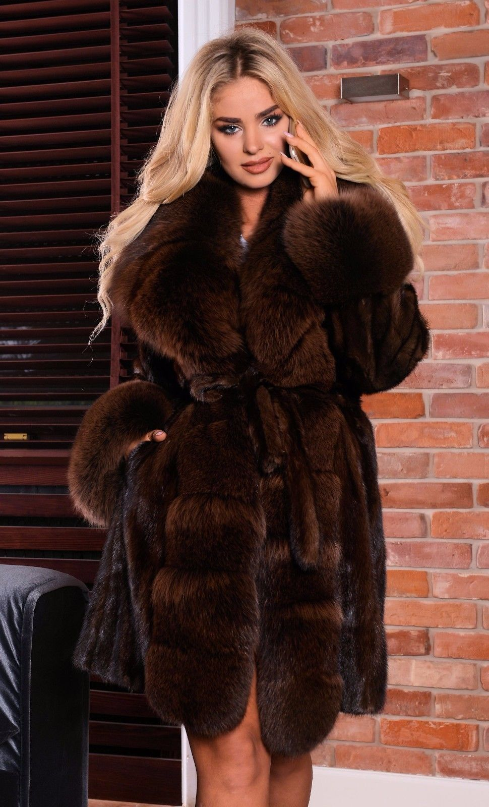 93c5200d7d3c NEW BROWN SAGA MINK FUR COAT FOX CLASS RUSSIAN SABLE CHINCHILLA VEST LONG  JACKET | eBay