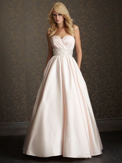 Blossom Silver Satin Sweetheart Embellished Empire Waist Wedding Gown
