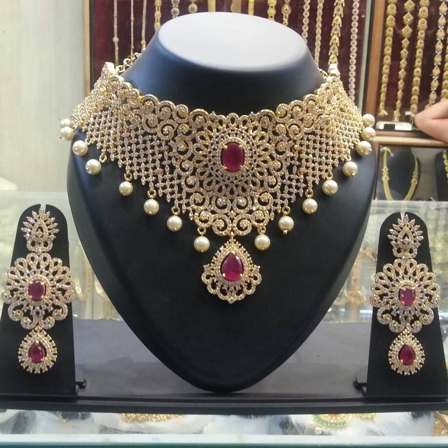 Bridal designer neckless buy onlien gram gold jewellery elegant