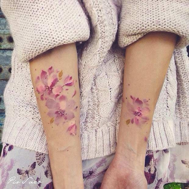 Rosa Blumen – Aquarell-Arm-Tätowierungs-Idee -   14 tattoo arm blumen