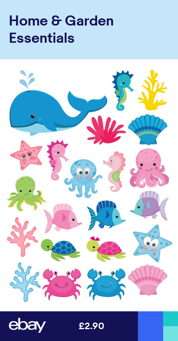 22 Icing Cupcake Cake Toppers Decorations Edible Under The Sea Creatures Fish For Sale Online Ebay Mermaid Theme Birthday Mermaid Theme Cake Toppers