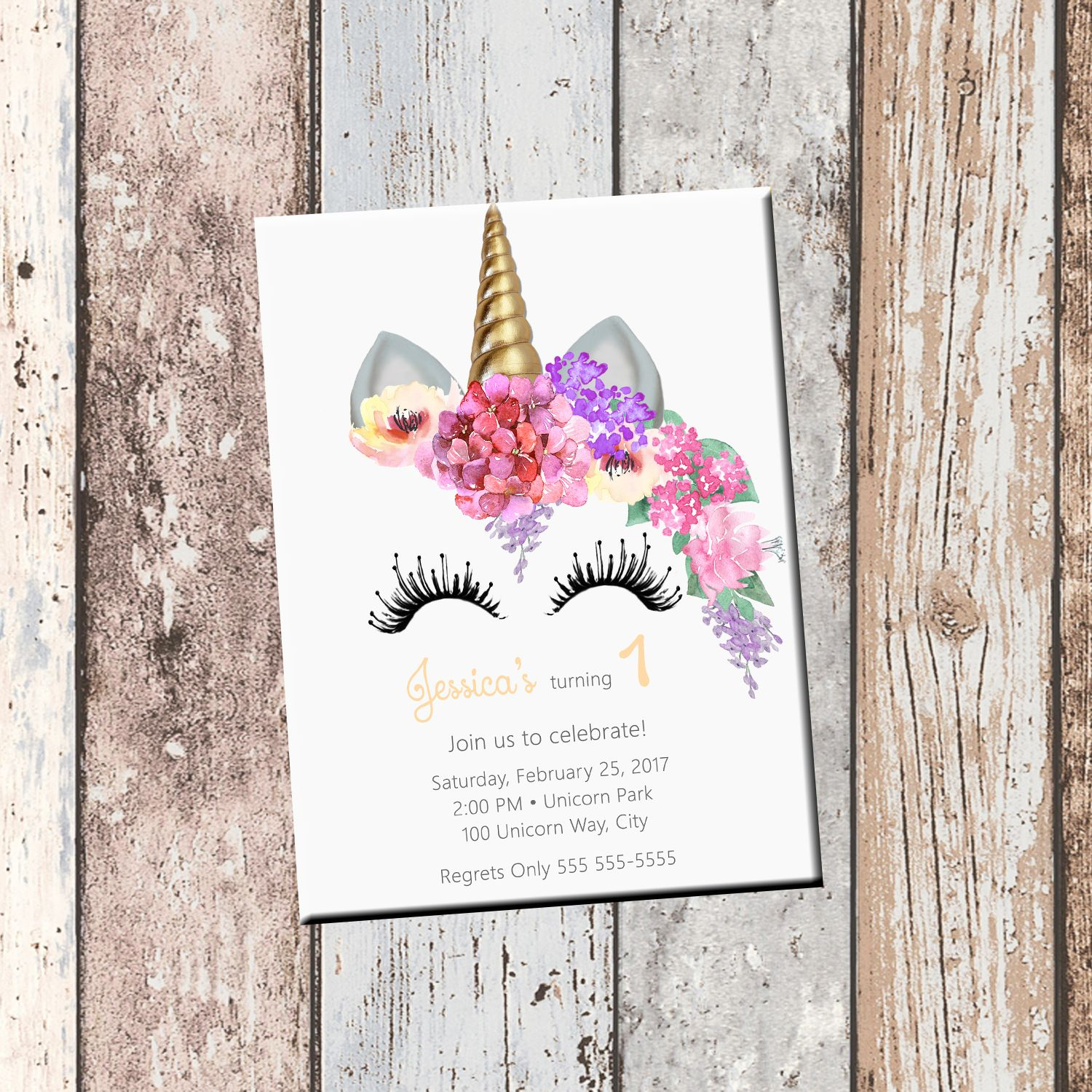 Unicorn Birthday Personalized Invitation 1 Sided Card Party