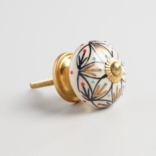 Blue and Gold Ceramic Knobs Set of 2 | World Market