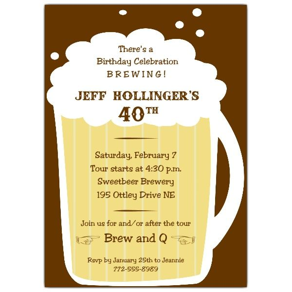 Beer Mug Birthday Invitations 60th Birthday party Pinterest - how to word a birthday invitation