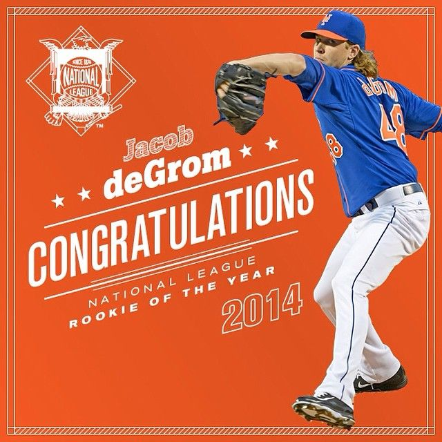 The Mets On Tumblr Congratulations Jdegrom19 2014 Nlroy National Baseball League Jacob Degrom Mets