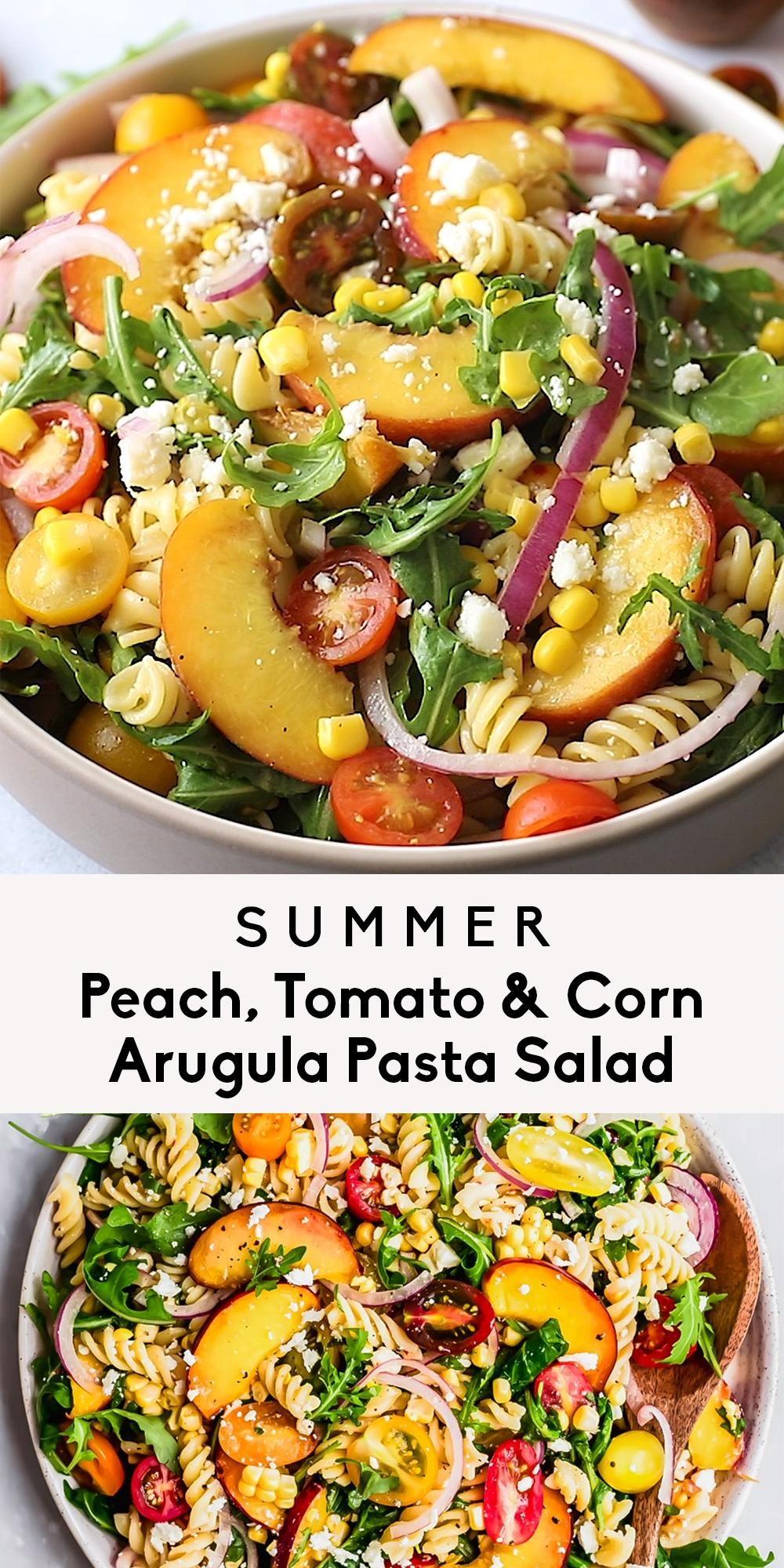 Peach, Tomato & Corn Arugula Pasta Salad