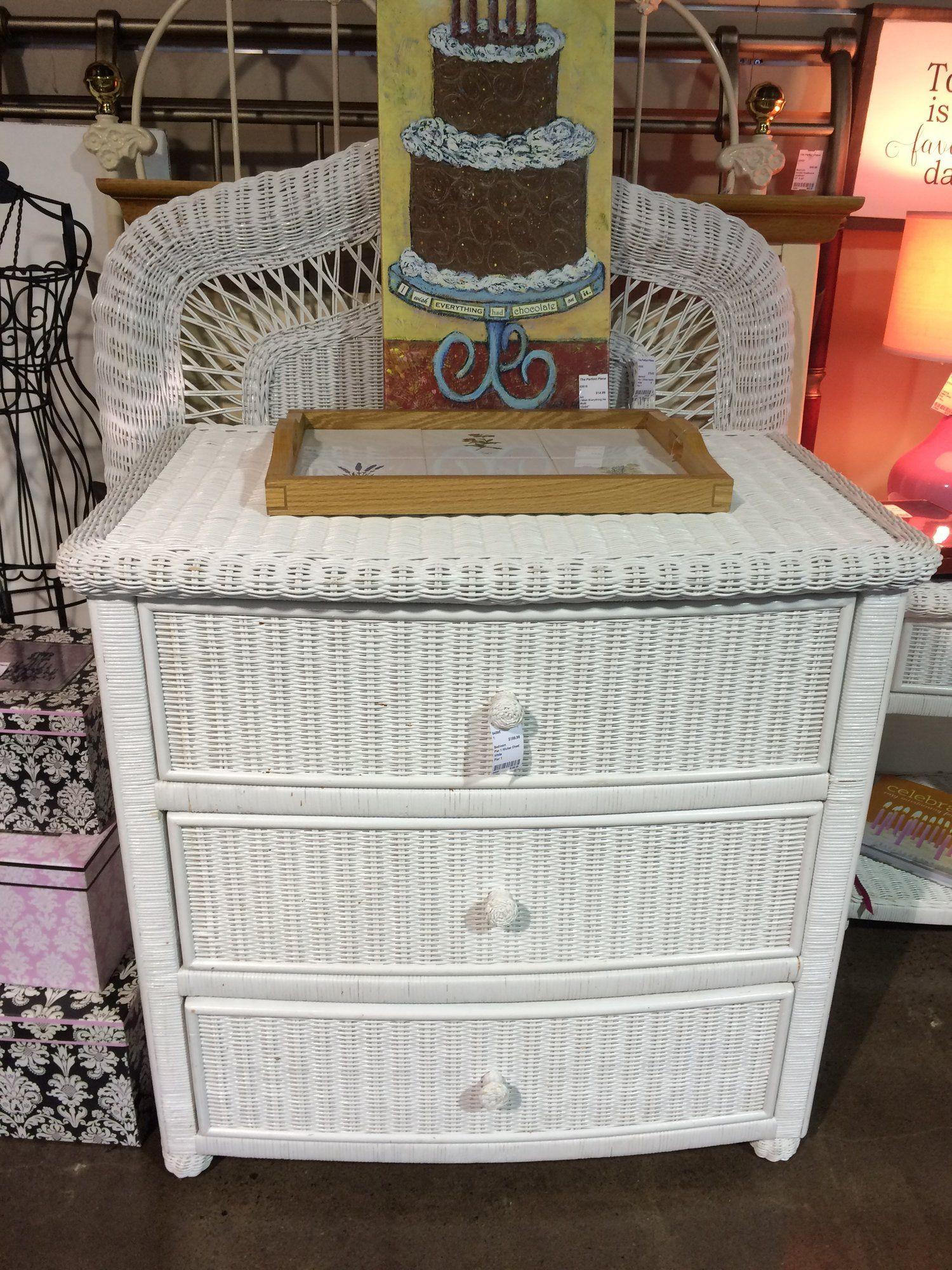 This Pier 1 white wicker dresser also has matching pieces ...