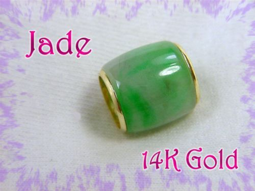 "14K Gold - Green & White JADE - Bead Slide Pendant 5/8"" - PERFECT GIFT"