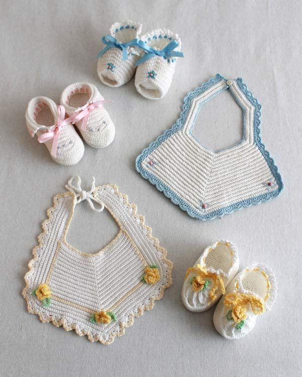 Vintage Bibs & Booties Crochet Pattern | Bebe, Tejido y Bebé