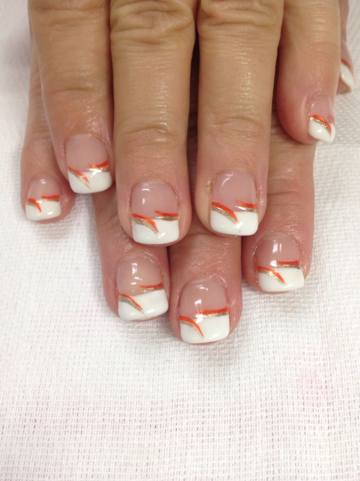 Fall French Gel Nails All Done With Non Toxic And Odorless Gel Nail Designs Fall Gel French Tip Nail Designs Fall Nail Colors