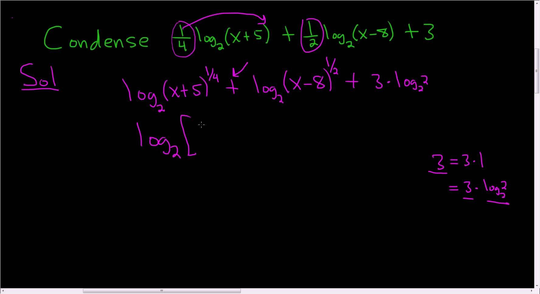 Condensing Using The Properties Of Logarithms Example 9