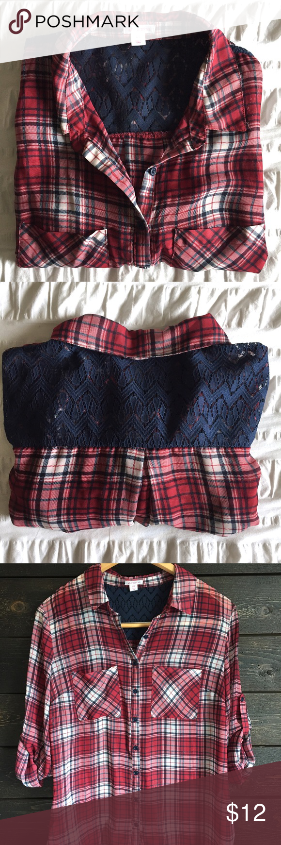 Plaid Hi/Low Blouse Plaid hi/low button up blouse. Lace detailing on back. Roll up and button sleeves. 100% polyester. Xhilaration Tops Blouses