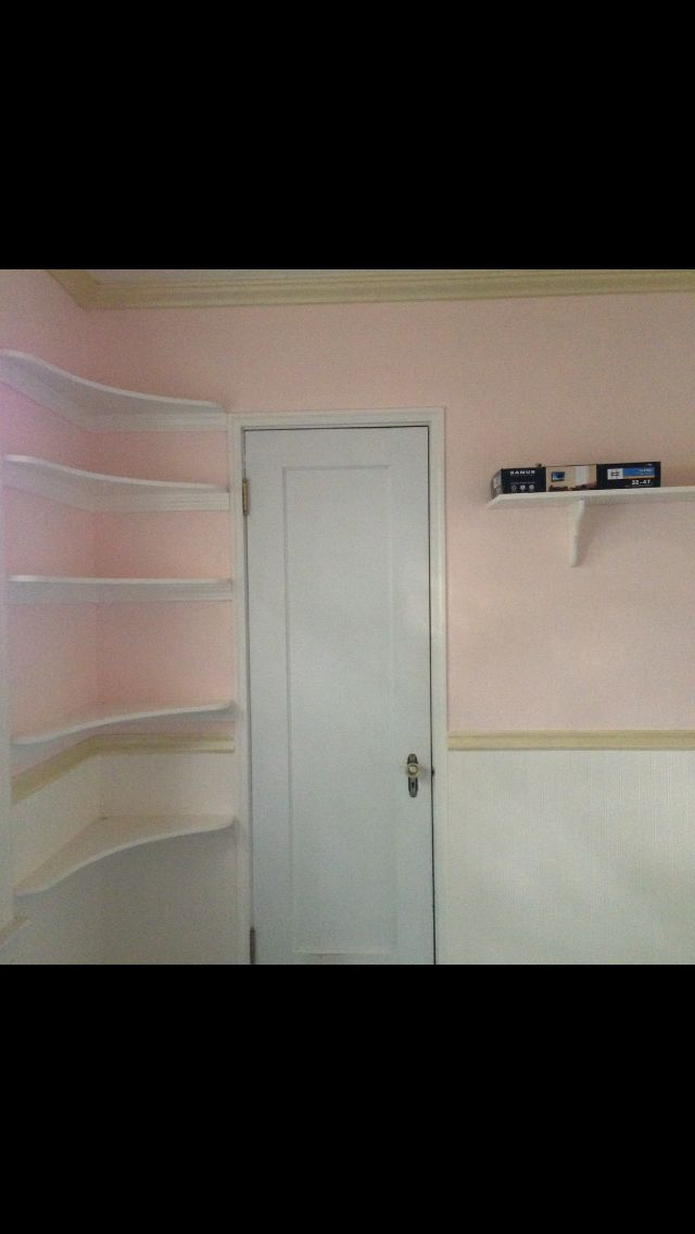 After pic with the light pink, ivory ceiling & ivory wainscoat bottom half of her wall and gold trim including gold crown moulding
