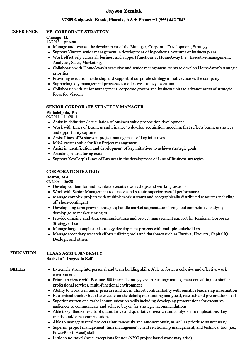 Corporate Strategy Resume Samples In 2021 Sales Resume Examples Engineering Resume Job Resume Examples