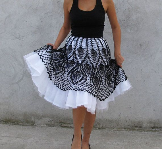 Tutu crochet Skirt - Black and white | little french maid ...